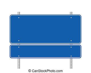 Blankes blaues Schild.