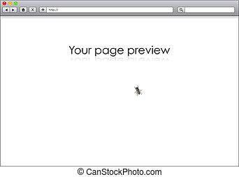 Blankes Internet-Browser mit Fliegen auf dem Bildschirm