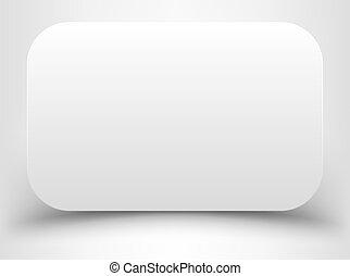 Blankes weißes Rechteck mit abgerundeten Ecken.