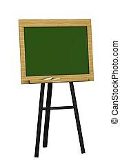 Blankgrüne Tafel isoliert auf weißem Hintergrund