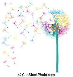 Blasen Sie Dandelion Vektor abstraktes Hintergrundkonzept