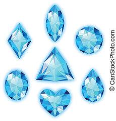 Blaue Edelsteine isoliert auf weiß