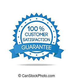 Blaue Kundenzufriedenheitsmarke.