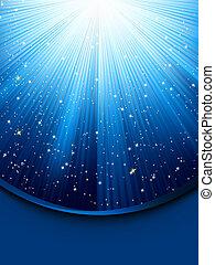 Blaue leuchtende Strahlen. EPS 8