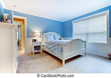 Blaue Mädchen, Kinder im Schlafzimmer.