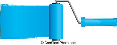 Blaue Malerbürste mit blauer Farbe, Teil 2, Vektor Illustration