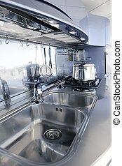 Blaue Silberküche, moderne Architektur, Innenarchitektur