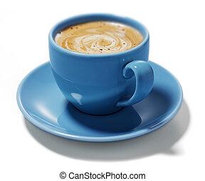 Blaue Tasse Kaffee