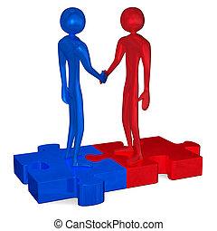 Blaue und rote 3D-Leute auf Puzzles, die Hände schütteln.