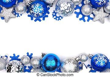Blaue und silberne Weihnachtsschmuck, doppelte Grenze über weiß.