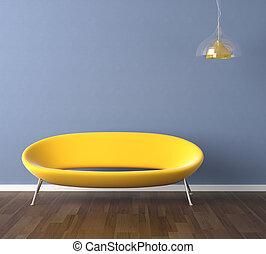 blaue wand, gelbe couch, design, inneneinrichtung