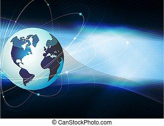 Blauer dunkler Hintergrund mit Silhouette der Erde und Lichtstrahlen.