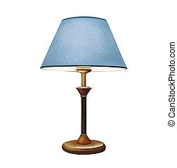 Blauer Lampenschirm. Nachttischlampe. Dekorationstischlampe