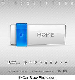 Blauer und grauer Knopf