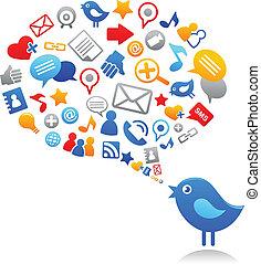 Blauer Vogel mit sozialen Medien-Ikonen
