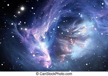 Blauer Weltraumnebel.