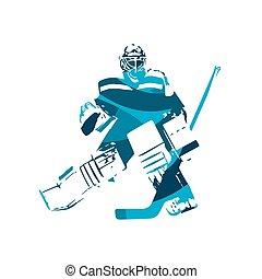 blaues, abstrakt, eis, vektor, abbildung, torwart, hockey