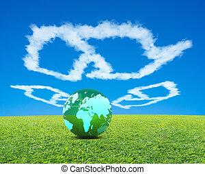 blaues, breit, kugel, wiese, landkarte, groß, symbol, mülltrennung, himmelsgewölbe, wolkenhimmel, form, grüner hintergrund, welt, frisch