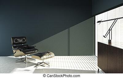 blaues, eames, wand, design, inneneinrichtung, stuhl