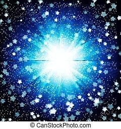 blaues, farbe, burst., design, hintergrund, blank