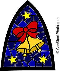 blaues, fenster., weihnachten, zwei, goldenes, befleckenglas, glocken