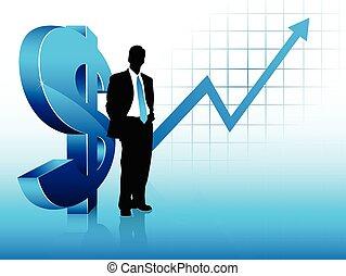 blaues, finanzieller erfolg, ausstellung, thema, geschäftsmann, silhouette
