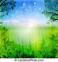 blaues, fruehjahr, grüner hintergrund