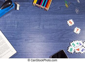 blaues, hölzern, gegenstände, buero, tisch