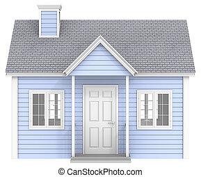 blaues, house.