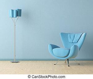 blaues, innenarchitektur, szene