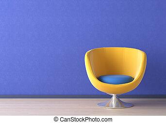 blaues, inneneinrichtung, stuhl, design, gelber