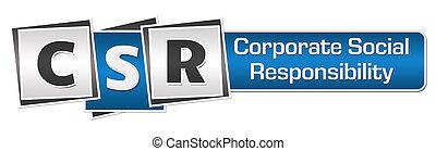 blaues, -, korporativ, verantwortung, csr, sozial, bar, quadrate, grau