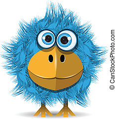 blaues, lustiges, vogel
