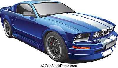 Blaues Muskelauto
