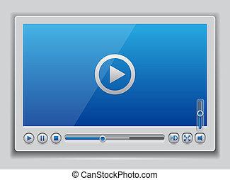blaues, spieler, video, glänzend, schablone