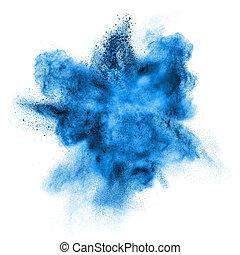 blaues, weißes, explosion, freigestellt, pulver
