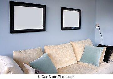 blaues, wohnzimmer, sofa, wand, design, inneneinrichtung