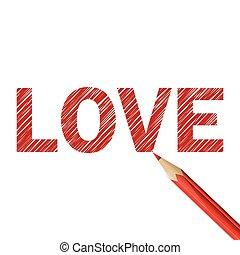 bleistift, wort, rotes , liebe, gezeichnet
