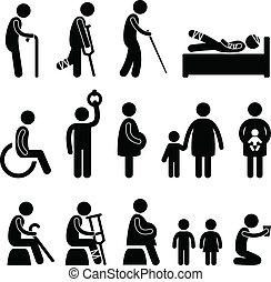blenden, altes , disable, patient, mann, ikone