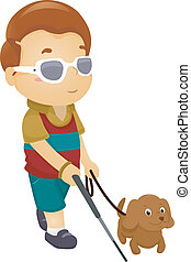 Blinder Junge mit Hund