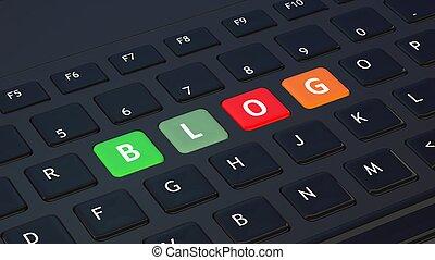 blog, closeup, schwarz, wort, tastatur