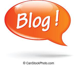 blog, vortrag halten , vektor, blase