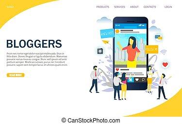 Bloggers Vektor Website Landing Page Design Vorlage