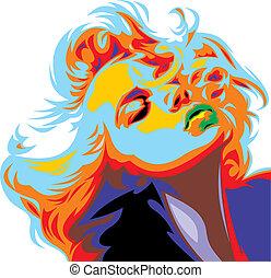 Blondes Mädchen sieht aus wie Marilyn Monroe.