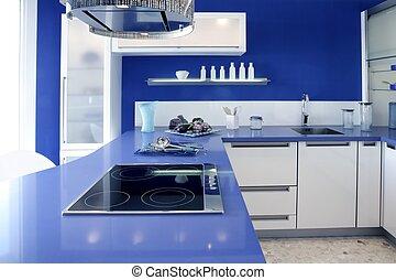 Blue white kitchen modern interior design house.