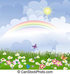 Blumenlandschaft mit Regenbogen