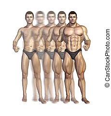 Bodybuilders Verwandlung
