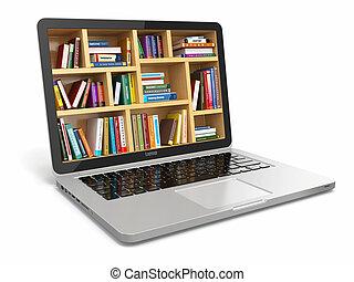 books., library., oder, internet, e-lernen, bildung, laptop