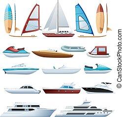 Boote und Windsurfer flache Symbole gesetzt.
