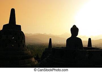 Borobudur bei Sonnenuntergang, Java, Indonesien